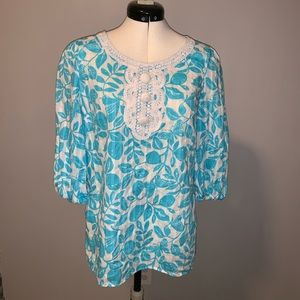 Lilly Pulitzer blue/white/gold top/tunic, Sz XS